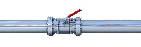 Pipeline. Metall pipeline with red valve Royalty Free Stock Photo
