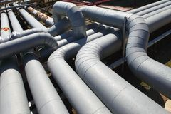 Pipeline. Industrial pipeline in an industry of gas and oil stock image