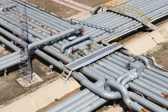 Pipeline. Industrial pipeline in an industry of gas and oil stock photography