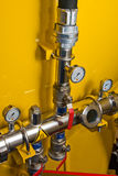 Pipeline. Gasoline pipeline with cranes and pressure meters Royalty Free Stock Photos