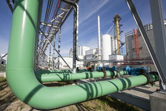Pipeline. A green pipeline at a energy plant Royalty Free Stock Photography