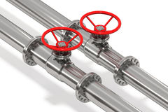 Pipeline From Above Detail. Photo Realistic pipeline tubes with throttle control wheel, isolated Royalty Free Stock Images