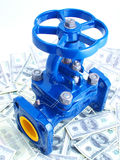 Pipeline armature against money Royalty Free Stock Image