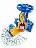 Pipeline armature against money Stock Images