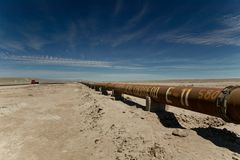 Pipeline through Atacama Desert Royalty Free Stock Photo