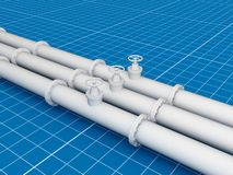 Pipeline, blueprint 3d concept Royalty Free Stock Image