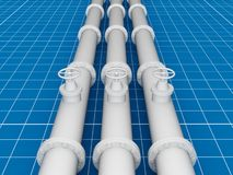 Pipeline, blueprint 3d concept Royalty Free Stock Photography