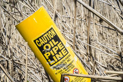 Pipeline Caution Sign Stock Photos