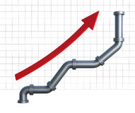 Pipeline chart. One growing chart made with pipelines and a red arrow pointing up (3d render vector illustration