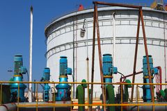 Pipeline and storage tanks Royalty Free Stock Image