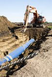 Pipeline Construction. Water pipe being laid at the Louis & Clark Regional Water System pipeline construction site in South Dakota Stock Image