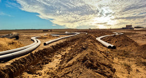 Pipeline construction in Betpakdala Stock Photos