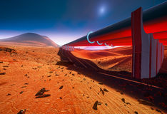 Pipeline construction on Mars Stock Photography