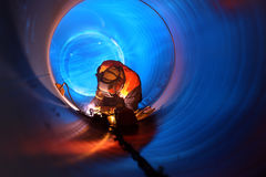 Pipeline construction. Pipe welding on the pipeline construction Stock Photos