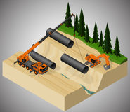 Pipeline construction process. Stock Images