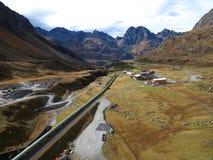 Pipeline construction site in alpine landscape Stock Images