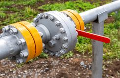 Pipeline with control valve. Industrial business concept Royalty Free Stock Image