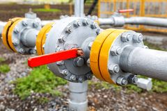 Pipeline with control valve. Industrial business concept Royalty Free Stock Photography