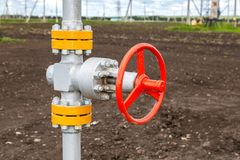 Pipeline with control valve. Industrial business concept Royalty Free Stock Photos