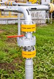 Pipeline with control valve. Oil industry equipment royalty free stock image