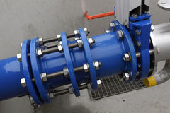 Pipeline coupling or joint. Details of a joint and coupling assembly in a large, high pressure pipe stock images