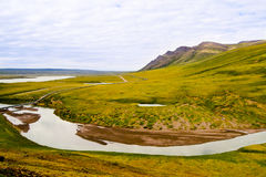 Pipeline and curved river. A view of the Alaskan oil pipeline in the wilderness with a stream beside it stock photos