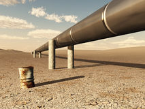 Pipeline in desert Stock Photos