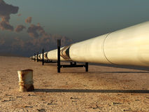 Pipeline in desert Royalty Free Stock Photo