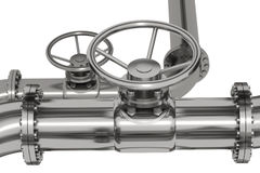 Pipeline Detail. Photo Realistic pipeline tubes with throttle control wheel, isolated Royalty Free Stock Images
