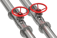 Pipeline Detail With Red Throttle Control Wheels Royalty Free Stock Photos