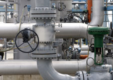 Pipeline equipment. Closeup view of detailed pipeline workings and equipment Royalty Free Stock Image