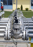 Pipeline equipment. Closeup view of detailed pipeline workings and equipment Stock Photography