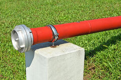 Pipeline of the fire hose Stock Photo
