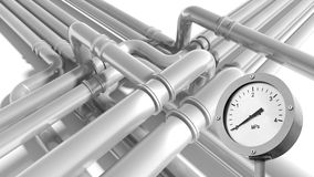 Pipeline fragment with zero pressure manometer indication. Modern gray steel industrial metal pipeline fragment with zero pressure manometer indication Royalty Free Stock Photography