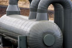 A pipeline in the heating geo thermal farm in Iceland. Near reykjavik royalty free stock images