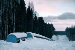 Pipeline i vinterskog på kullen royaltyfri fotografi