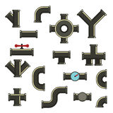 Pipeline icons set, flat style Royalty Free Stock Photos
