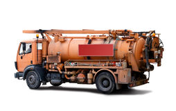 Truck for sewer cleaning. Pipeline incpection truck  in white Royalty Free Stock Images