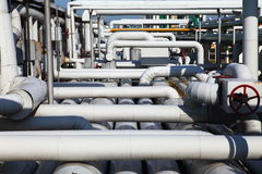 Pipeline. Industrial pipeline in an industry of gas and oil stock photos