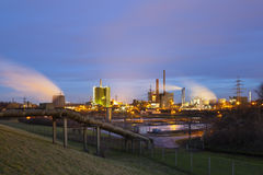 Pipeline and Industry At Night Royalty Free Stock Photos