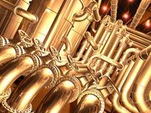 Pipeline inside refinery 2. Pipelines inside oil refinery. pipes, tubes, tanks, valves. 3D rendering illustration vector illustration