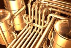 Pipeline inside refinery 4. Pipelines inside oil refinery. pipes, tubes, tanks, valves. 3D rendering illustration vector illustration