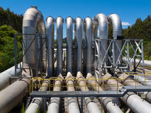 Pipeline installation for distribution and supply. Background of a pipeline installation for distribution and supply of liquid and gaseous products, such as stock images