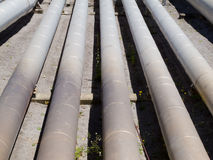 Pipeline installation for distribution and supply. Background of a pipeline installation for distribution and supply of liquid and gaseous products, such as Royalty Free Stock Photo