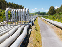 Pipeline installation for distribution and supply. Background of a pipeline installation for distribution and supply of liquid and gaseous products, such as stock image