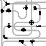 Pipeline junctions with valves Royalty Free Stock Images