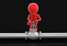 Pipeline and Man (clipping path included) Stock Image