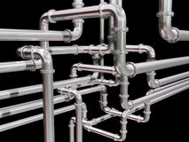 Pipeline maze. Illustration of a maze of industrial pipes Royalty Free Stock Photos