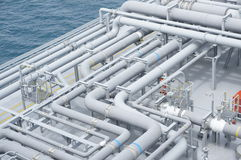 Pipeline of Natural Gas Floating Storage Regasification Unit Royalty Free Stock Images