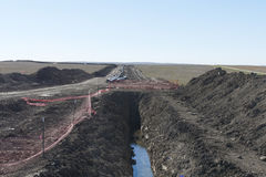 Pipeline. A new Natural Gas pipeline under construction in North Dakota Stock Photo